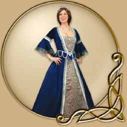 Costume - Blue Renaissance Dress with Decor Panel